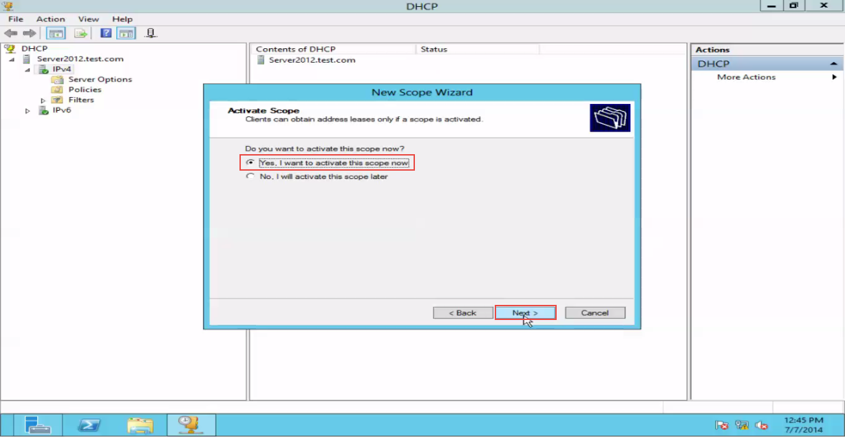 Training to Create a Scope in Windows Server 2012 active scope 13