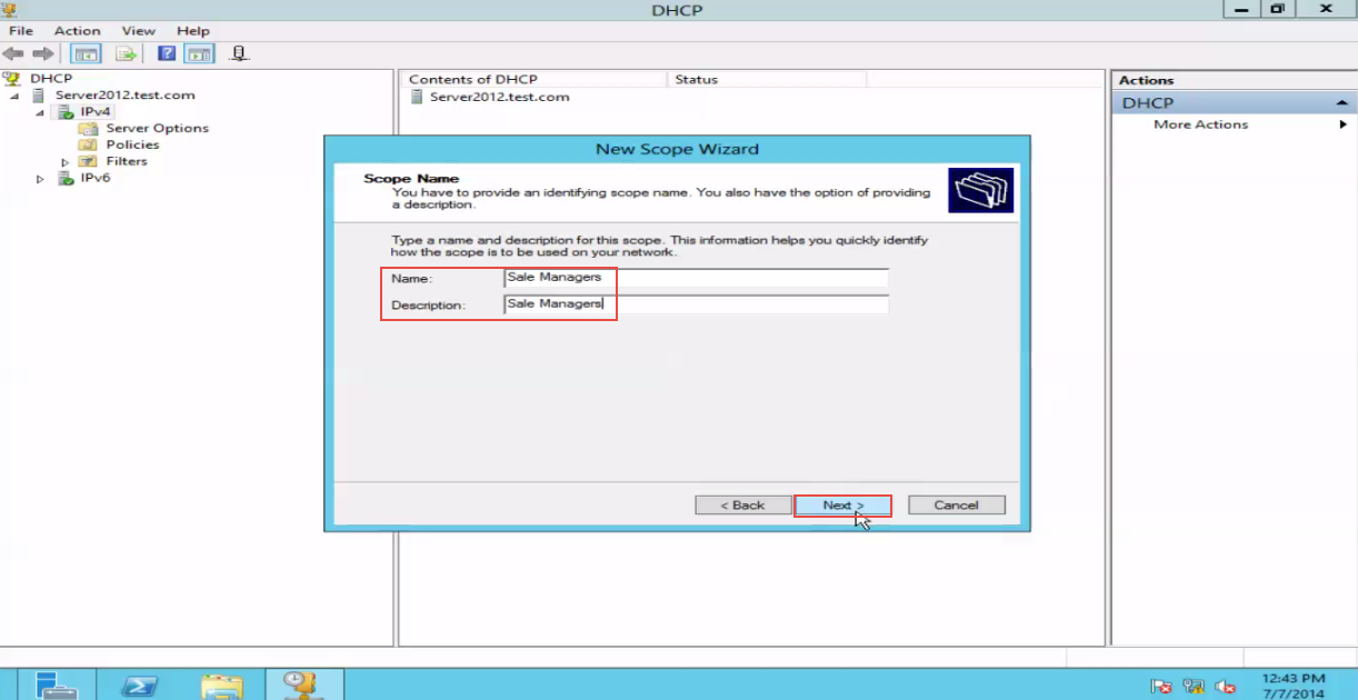 Training to Create a Scope in Windows Server 2012 click next  5