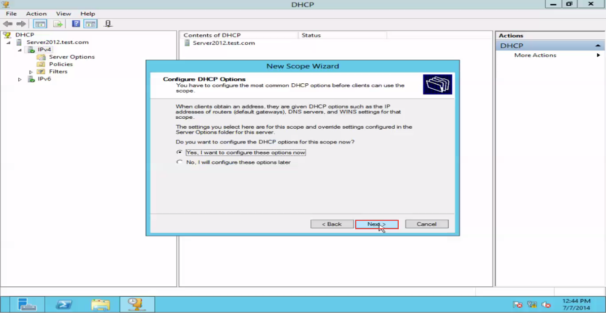 Training to Create a Scope in Windows Server 2012 click next 9