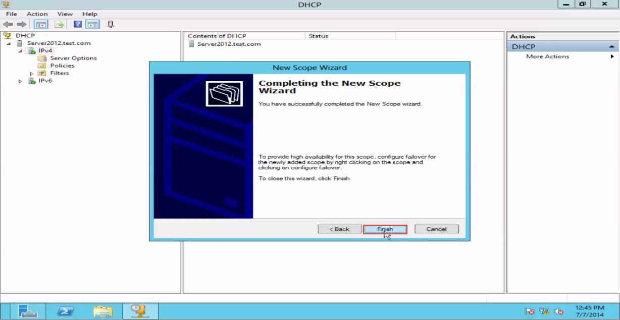 Training to Create a Scope in Windows Server 2012 finish button 14