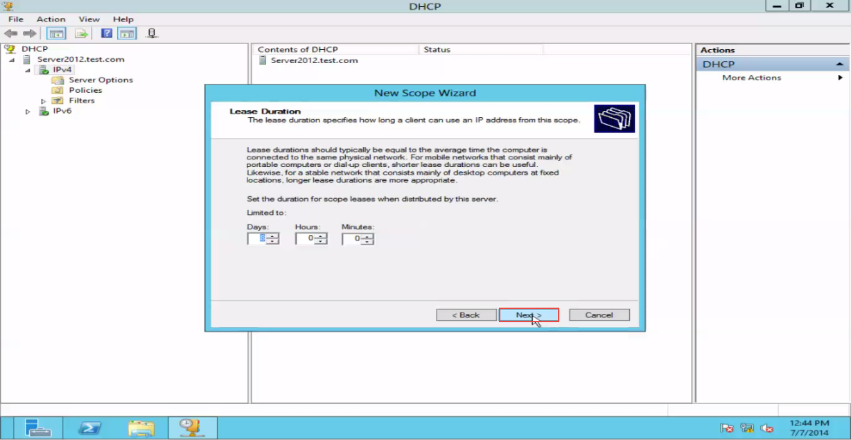 Training to Create a Scope in Windows Server 2012 lease duration 8