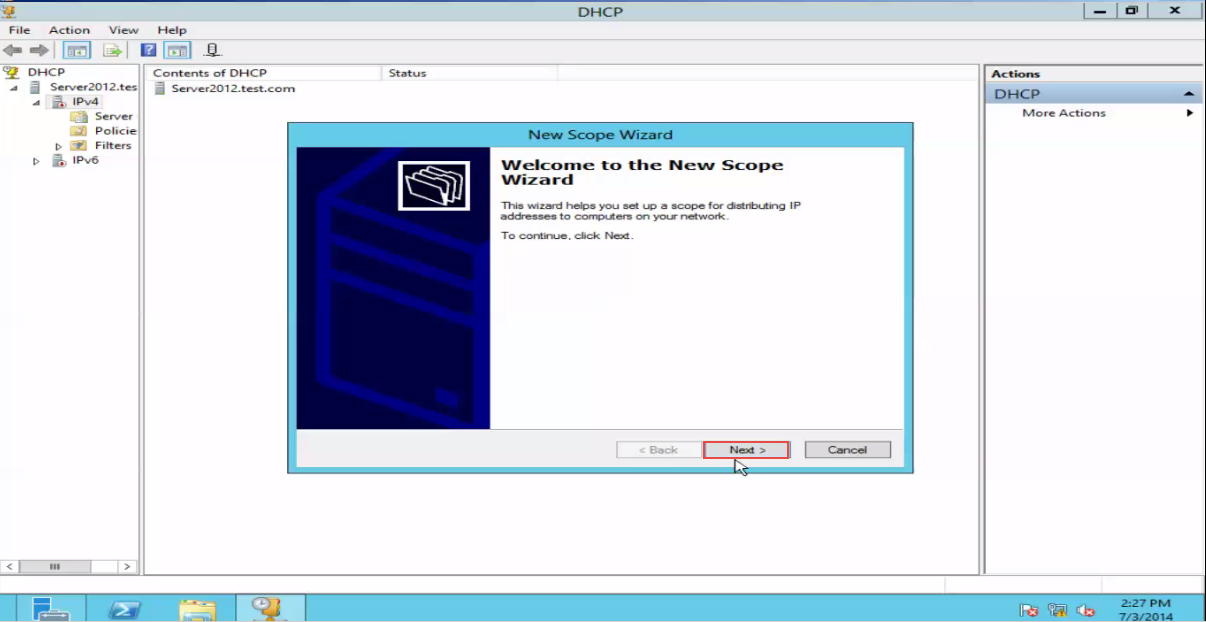 Training to Create a Scope in Windows Server 2012 new scope wizard 4
