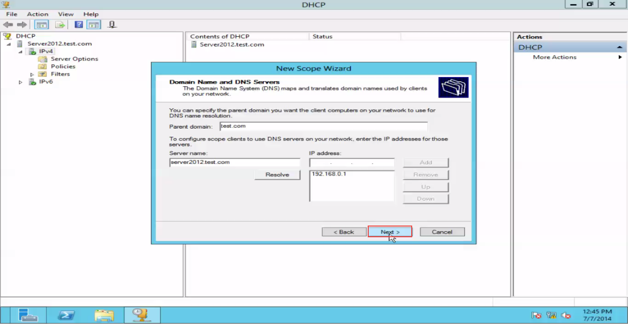 Training to Create a Scope in Windows Server 2012 next button 11