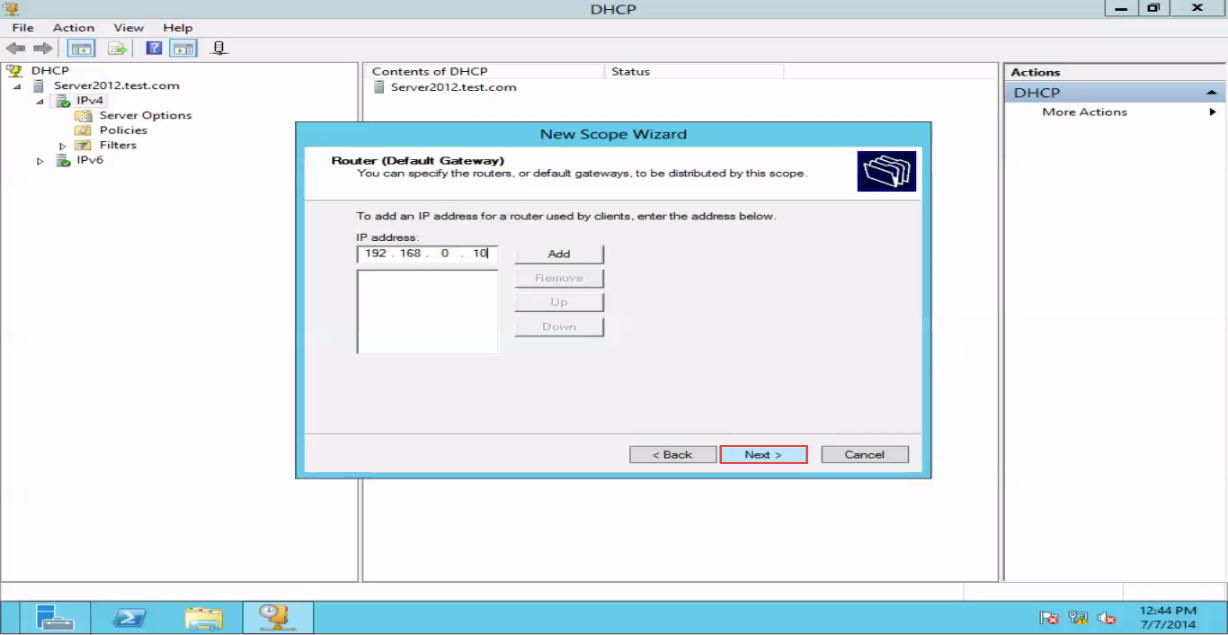 Training to Create a Scope in Windows Server 2012 router IP address 10