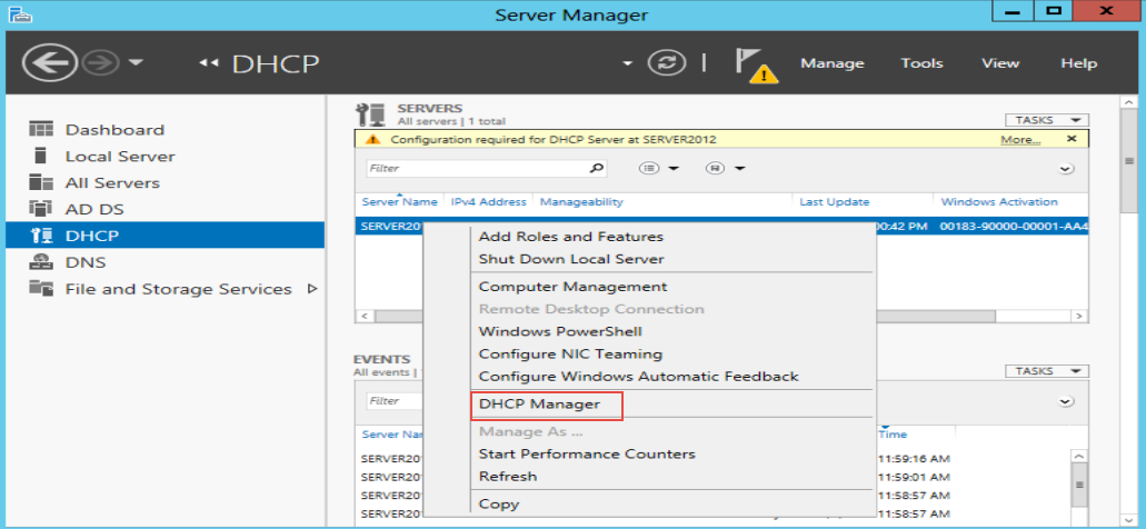 Training to Create a Scope in Windows Server 2012 server manager 2