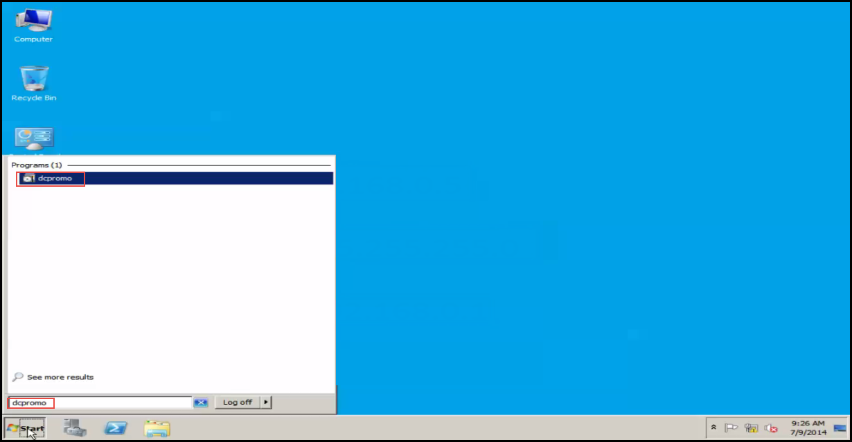 Training to Install Additional  Domain Controller in an Existing Forest Run dcpromo on workgroup server