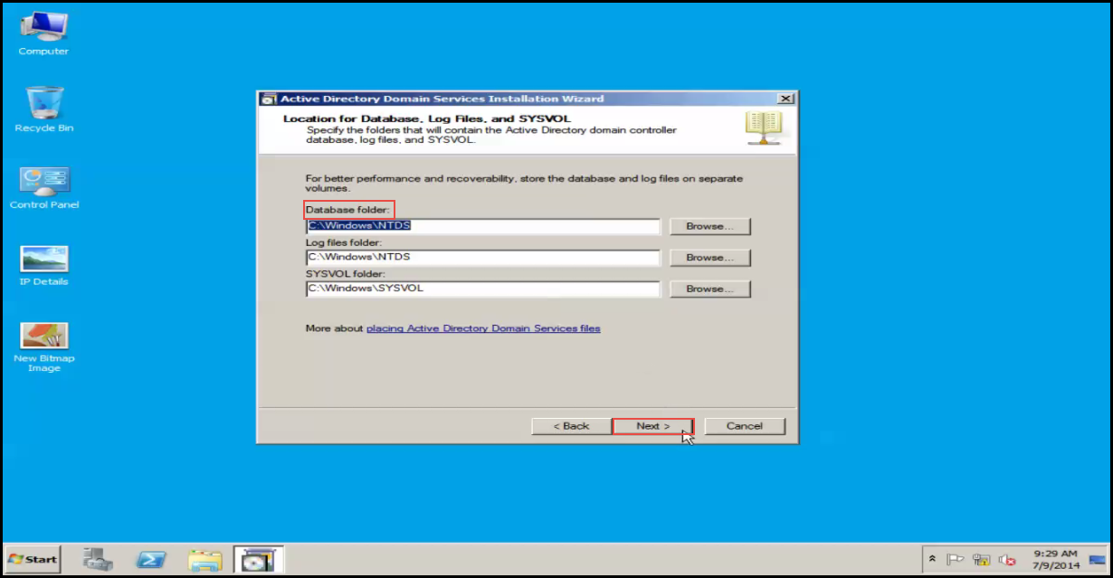 Training to Install Additional  Domain Controller in an Existing Forest database folder