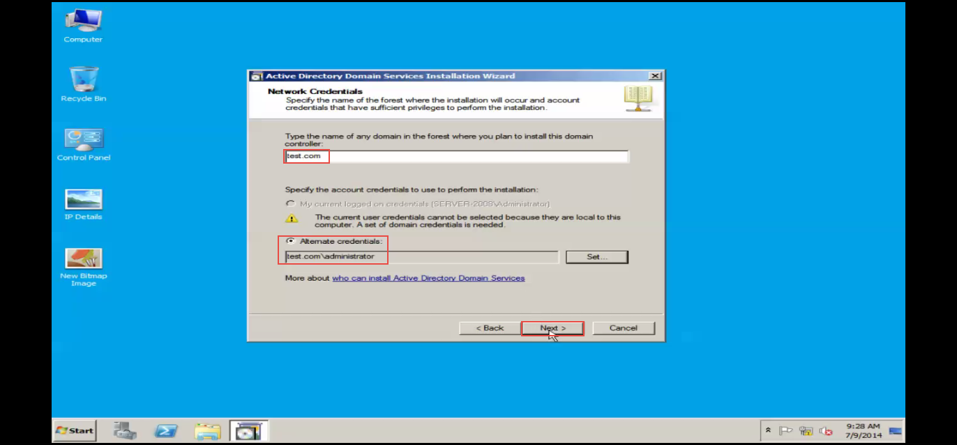 Training to Install Additional  Domain Controller in an Existing Forest domain name