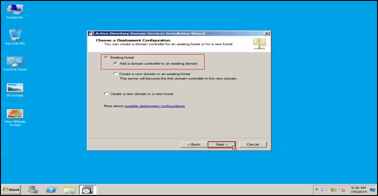 Training to Install Additional  Domain Controller in an Existing Forest existing forest