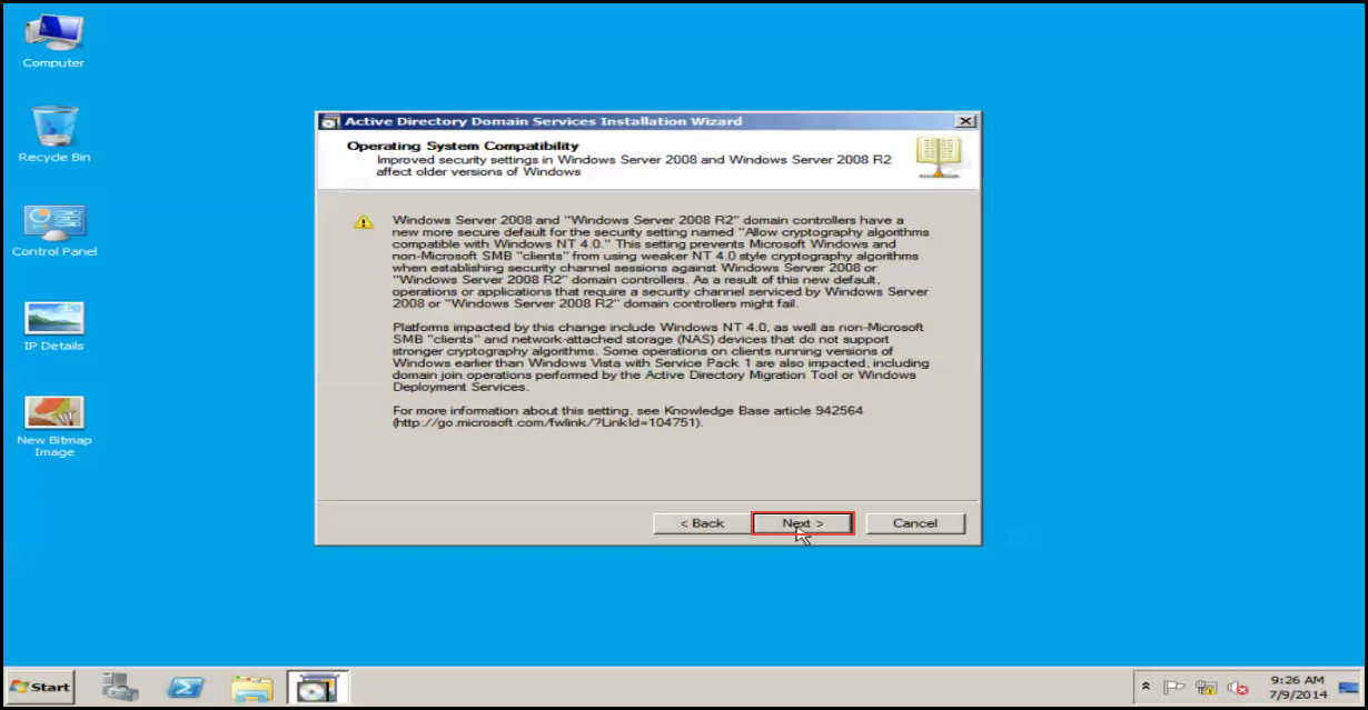 Training to Install Additional  Domain Controller in an Existing Forest next button