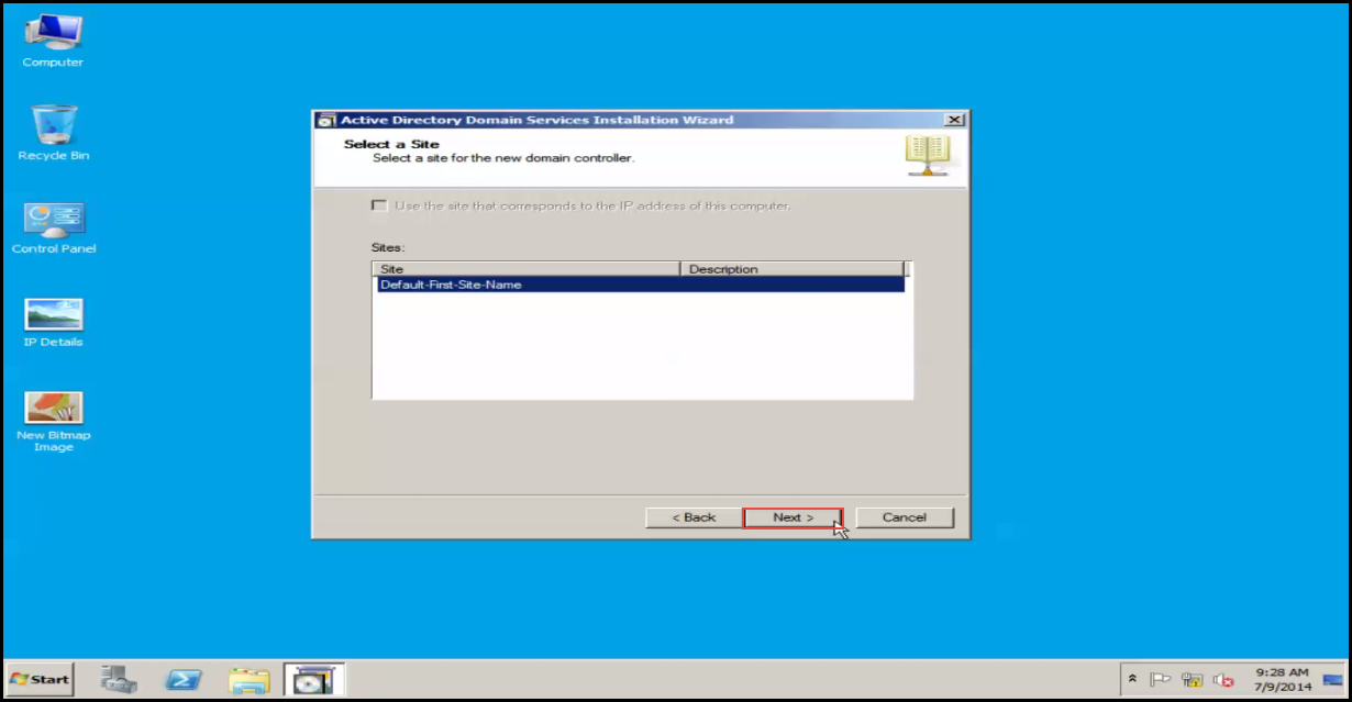 Training to Install Additional  Domain Controller in an Existing Forest select site