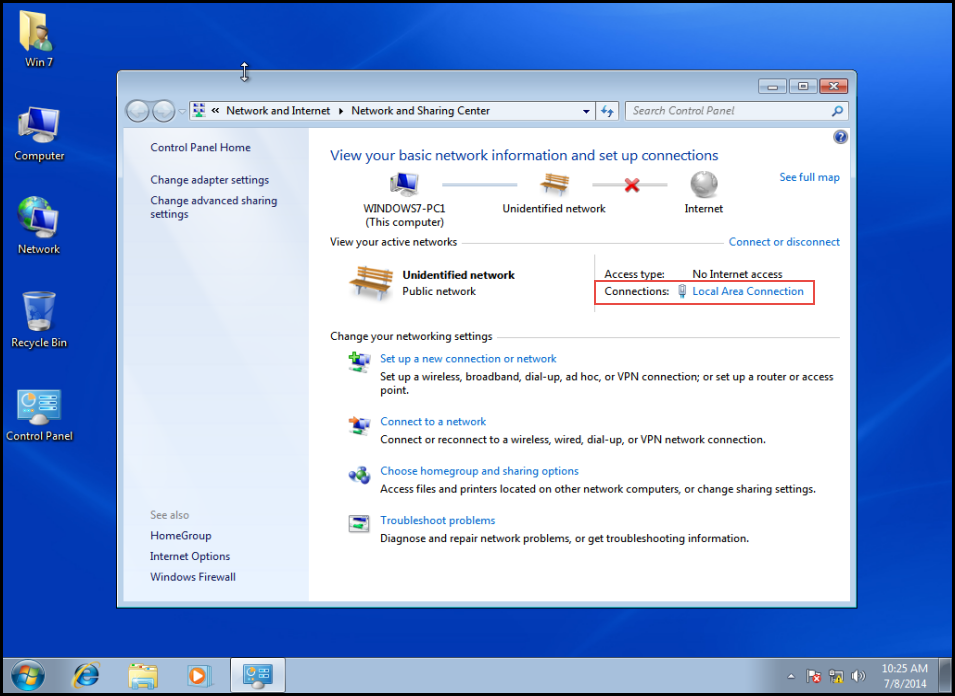 Training to Obtain an IP Address from Windows Server 2012 DHCP on Client Machine Click on Local Area Connection