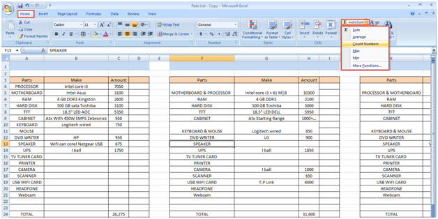 Usage of Editing Tool in MS Excel