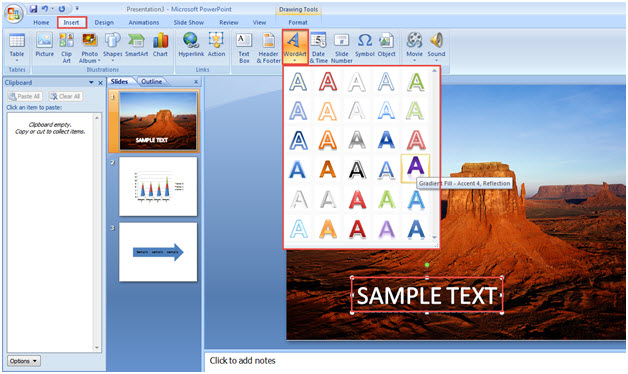 Usage of Home Feature in MS PowerPoint