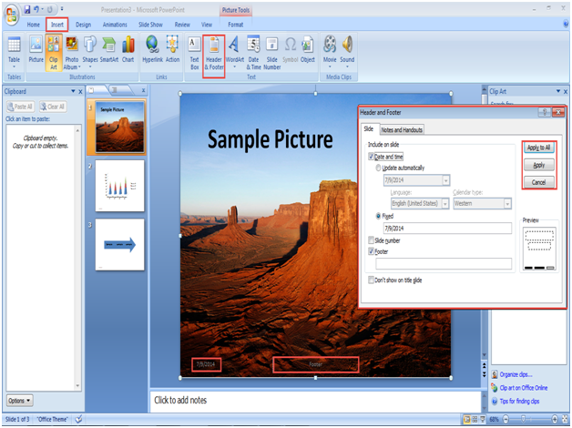 powerpoint 2007 header footer 5