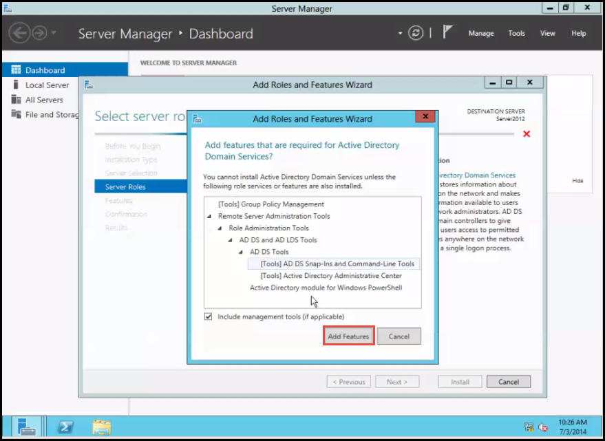 install active directory training 2012 Add Role and Feature